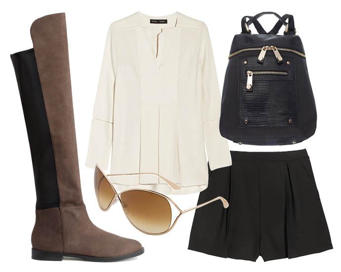 Выбор ELLE: шорты Miu Miu, блуза Proenza Schouler, замшевые ботфорты H&M, солнцезащитные очки Tom Ford
