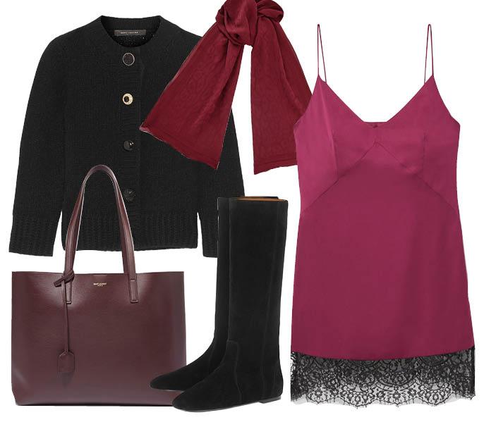 Выбор ELLE : кардиган Marc Jacobs, сумка Saint Laurent, ботфорты Isabel Marant, шарф Jimmy Choo