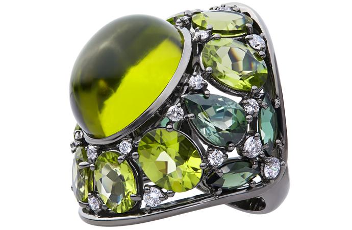 Зеленый перстень Oro Trend