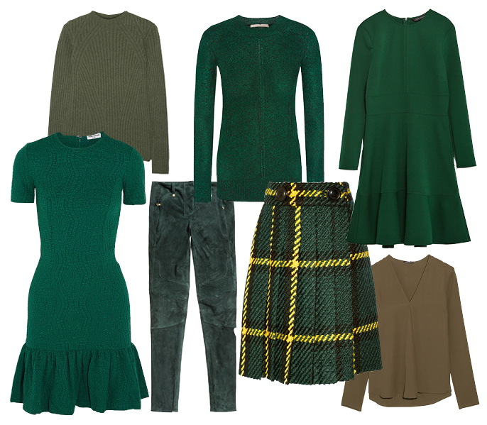 Выбор ELLE: платья Opening Ceremony и Zara, блуза Theory, блестящий свитер Christopher Kane, юбка Miu Miu, вязаный свитер The Row, брюки H&M