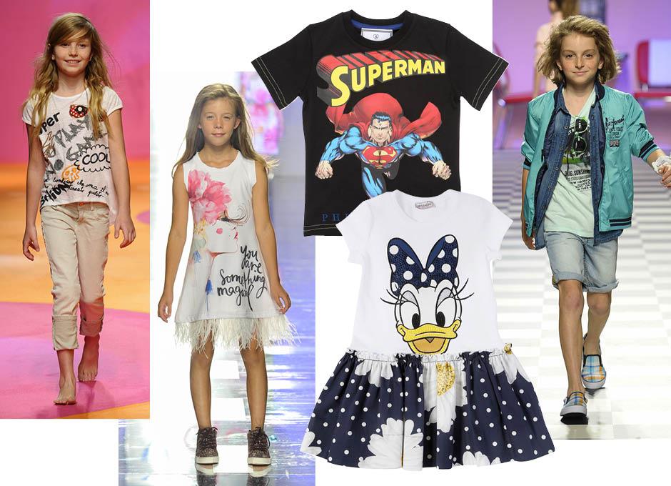 1. показ весна-лето 2016, Manila Grace; 2. показ весна-лето 2016,Y-Clù; 3. футболка, Philipp Plein Junior; 4. показ весна-лето 2016, Children's Fashion from Spain; 5. платье, Monnalisa