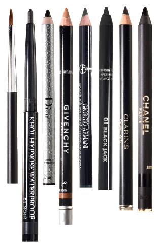 Кисть для век Cream Smudge, Bobbi Brown, 2 670 руб.; водостойкие карандаши для век Khôl Hypnôse, 01, Lancôme, 1 088 руб., и Eyeliner, 094, Dior, 1 145 руб.; карандаш для бровей Eyebrow Show, 3, Givenchy, 1 236 руб.; карандаши для век Smooth Silk, 6, Giorgio Armani, 1 300 руб., Le Stylo Yeux, 01, Guerlain, 1 130 руб., Crayon Khôl, 01, Clarins, 750 руб., Le Crayon Yeux, 01, Chanel, 1 165 руб.