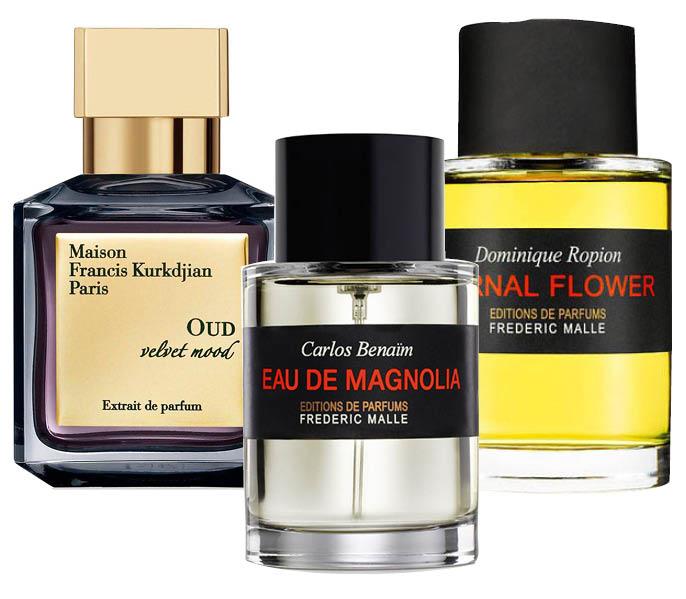 1. Francis Kurkdjian Oud Velvet Mood; 2. Eau de Magnolia; 3. Frederic Malle Carnal Flower