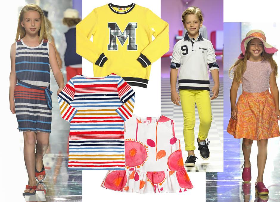 1. показ весна-лето 2016, Y-Clù; 2. свитшот, MSGM; 3. показ весна-лето 2016, Children's Fashion from Spain; 4. показ весна-лето 2016, Y-Clù; 5. платье,Rykiel Enfant; 6. платье, Il Gufo
