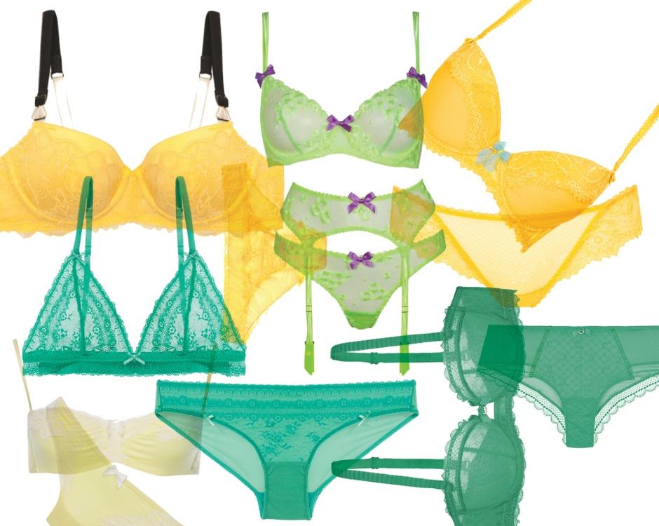 """желтые бюстгальтер с черными бретелями и трусы Stella McCartney, зеленый комплект Agent Provocauter, желтый комплект Incanto, зеленый бюстгальтер Etam, желтый комплект """"Дикая Орхидея"""", зеленые трусы Etam, зеленый комплект Chantelle"""