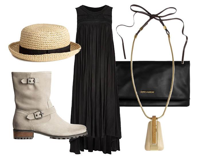 Выбор ELLE: платье Asos, колье Lanvin, шляпа H&M, клатч Saint Laurent
