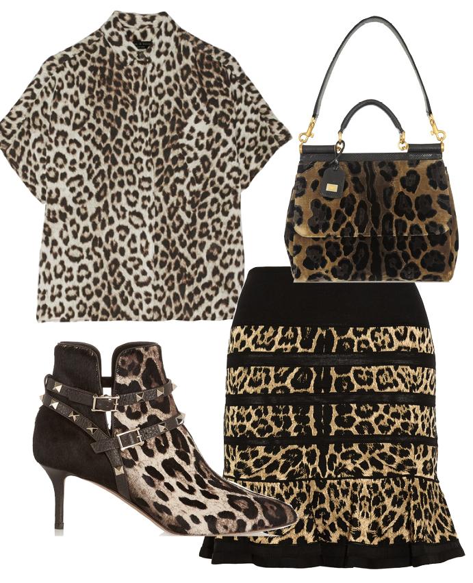Выбор ELLE: юбка Roberto Cavalli, блуза Rag&Bone, сумка Dolce&Gabbana, ботильоны Valentino