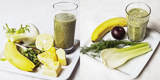 Слева: фенхель, салат «Токана. Итальянский вкус» от «Белой Дачи», тыква, банан, вода; Справа: сельдерей, укроп, слива, банан.