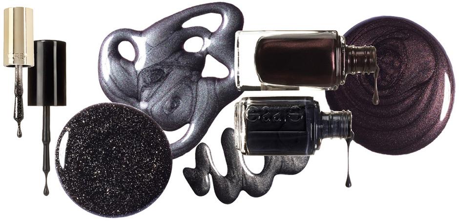 Oxide, Sally Hansen; Black Diamond, Color Riche, L'Oréal Paris; Tuxedo Black, Bobbi Brown; 861, La Laque Couleur, Guerlain; Cashmere Bathrobe, Professional Application, Essie.