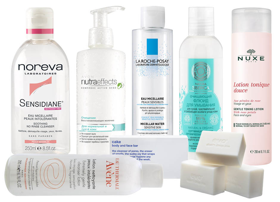 1) Noreva Sensidiane Soothing No Rinse Cleanser; 2) Avon Nutraeffects Восстанавливающее молочко; 3) La Roche-Posay Micellar Water; 4) Natura Siberica Очищающий флюид для умывания; 5) Nuxe Gentle Tonic Lotion; 6) EVO body and face bar; 7) Avene Extremly Gentle Cleanser Lotion