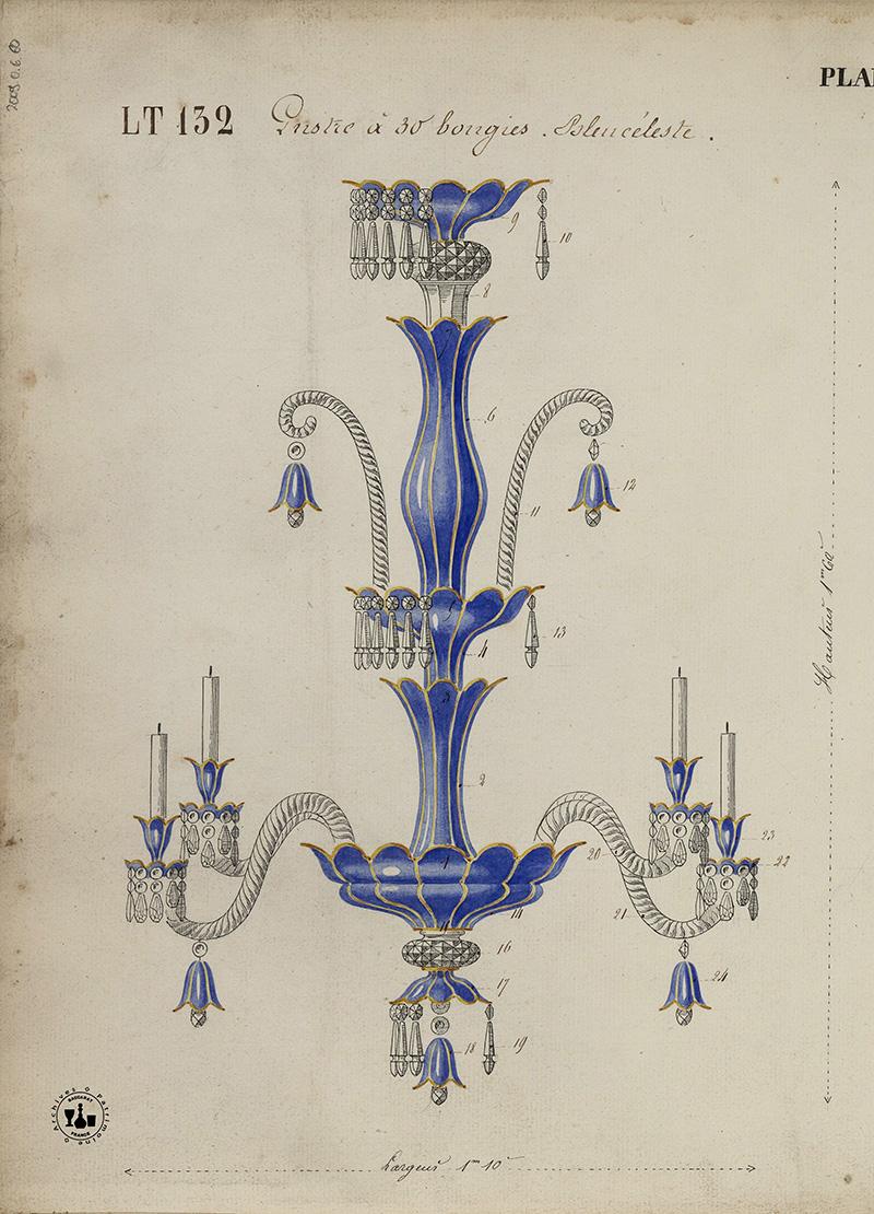 Эскиз канделябра Baccarat для дворца Долмабахче в Стамбуле, 1858 год.