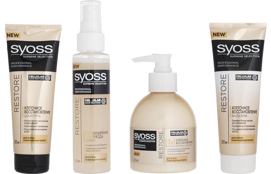 Шампунь, бальзам, интенсивная маска-уход и спрей для очень поврежденных волос Supreme Selection Cellular Hair Restore, Syoss