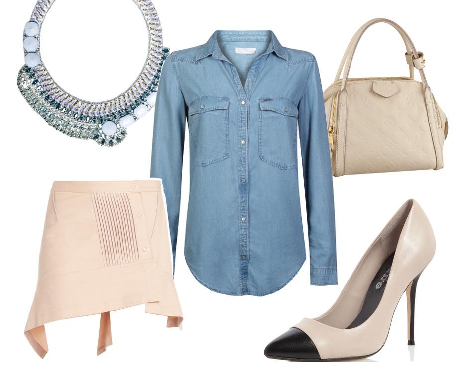 Колье Barbara Bui, рубашка Calvin Klein, сумка Louis Vuitton, юбка BCBG MaxAzria, туфли Dune