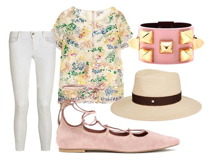 Выбор ELLE: топ Ashish, джинсы Stella McCartney, шляпа Maison Michel, браслет Givenchy