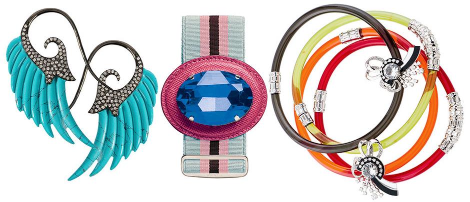 Серьги, Helen Zubeldia; браслет, Prada; браслеты из пластика, Miu Miu