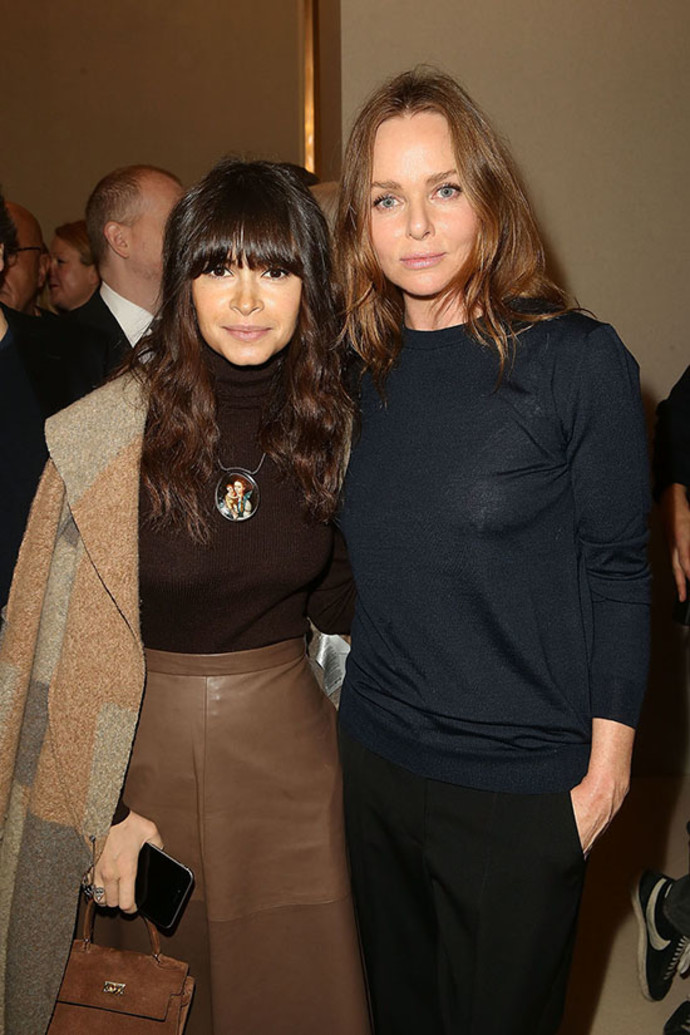 Miroslava Duma and Stella McCartney pose after the Stella McCartney show as part of the Paris Fashion Week Womenswear FallWinter 2015-2016 at Opera Garnier on March 9, 2015