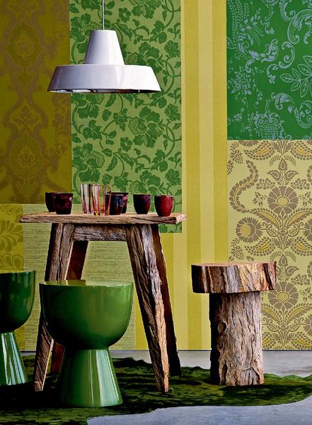 Пэчворк на стене — модный декораторский прием. Не спешите избавляться от обрезков обоев оставшихся после очередного ремонта.
