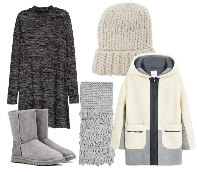Выбор ELLE: пальто Mango, сапоги UGG Australia, шапка Aldo, шарф TopShop