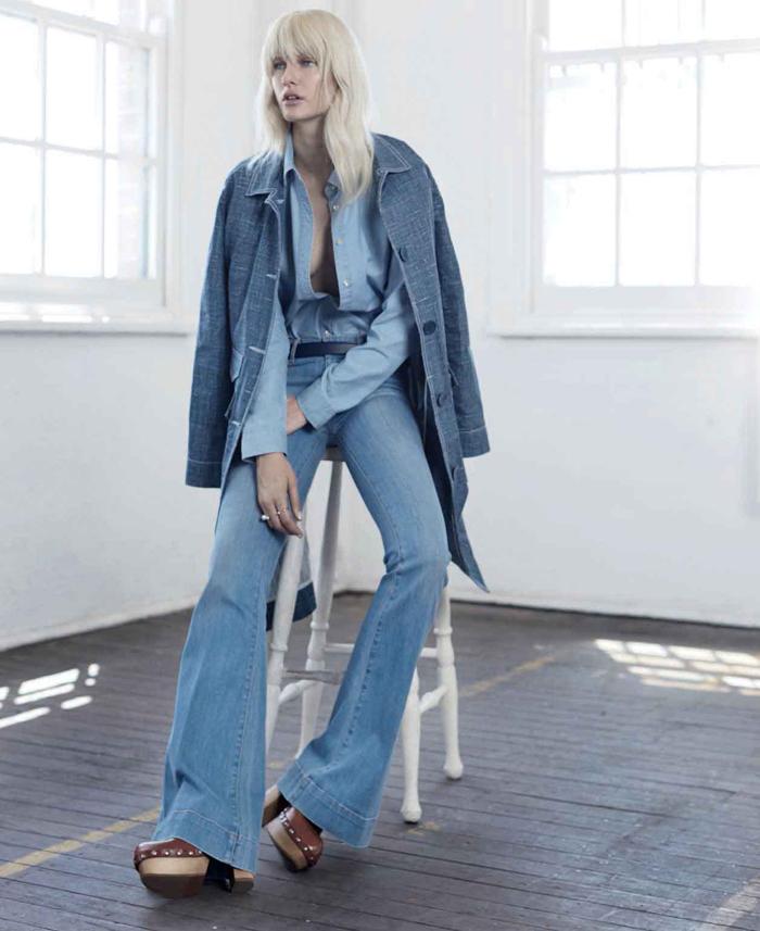 C чем носить: джинсы-клеш