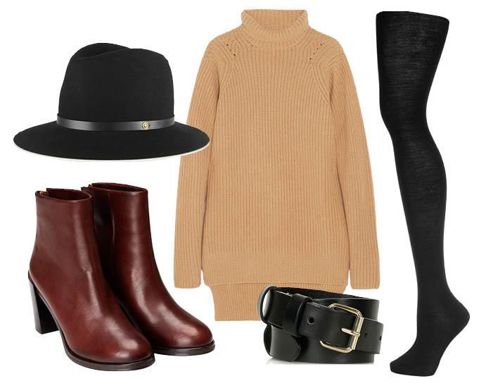 Выбор ELLE: пояс TopShop, ботильоны H&M, колготки Falke, шляпа Rag&Bone