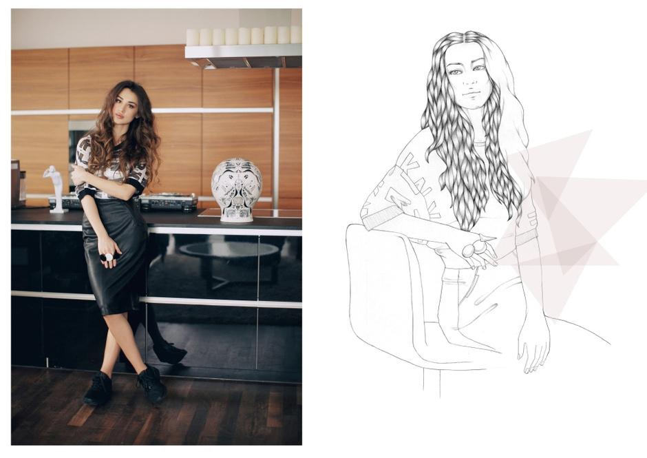 Топ - DKNY; юбка - Zara; кроссовки - ZX Flux, Adidas Originals; кольца - Magia di Gamma