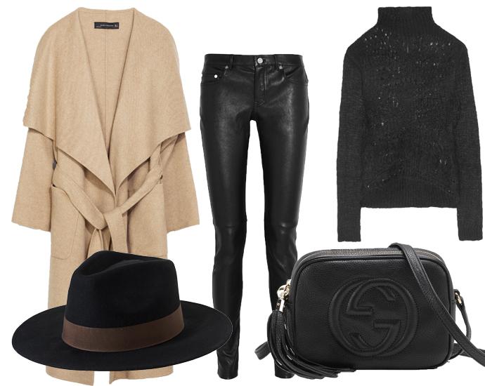 Пальто Zara, кожаные брюки Saint Laurent, свитер Rick Owens, шляпа Monki, сумка Gucci