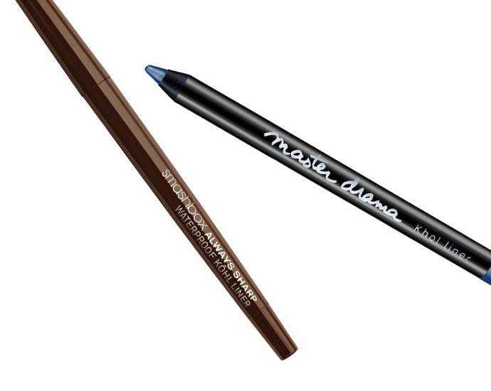 Самозатачивающийся карандаш для век, Smashbox Always Sharp Waterproof Kohl Liner, оттенок Sumatra; Мягкий карандаш для век, Maybelline Master Drama, оттенок «Синяя бездна»