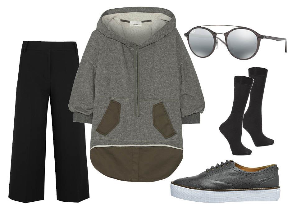 C чем носить худи? кюлоты Tibi, кеды Longchamp, солнцезащитные очки Ray—Ban, носки Falke