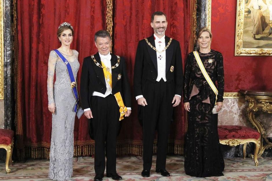 Королева Летиция, Хуан Мануэль Сантос, Фелипе VI и Мария Клеменсия Родригес