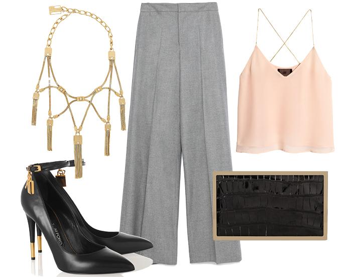 Выбор ELLE: топ H&M, ожерелье Lanvin, туфли Tom Ford, клатч Victoria Beckham