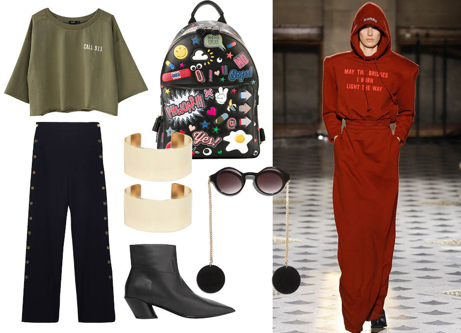 Укороченная толстовка Bershka, брюки Zara, очки Other Stories, ботильоны Balenciaga, рюкзак Anya Hindmarch, браслеты ASOS, показ Vetements F/W 16