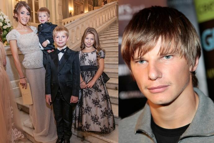 Юлия Барановская с детьми и Андрей Аршавин