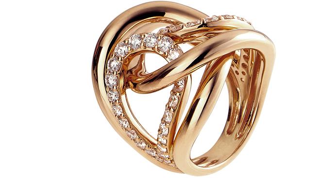 Кольцо, розовое золото