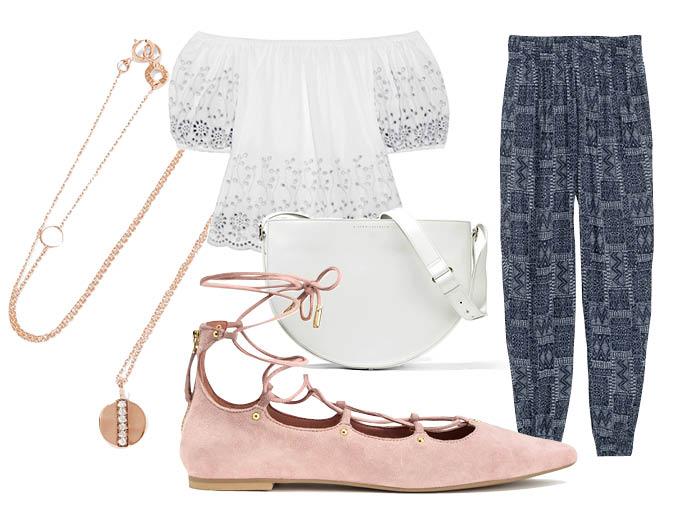 Выбор ELLE: шаровары H&M, топ See by Chloe, сумка—полукруг Victoria Beckham, колье Ippolita