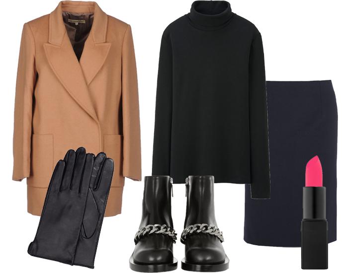 Юбка Theory, водолазка Uniqlo, пальто L'Autre Chose, кожаные перчатки H&M, ботильоны Givenchy, помада Nars в оттенке Schiap