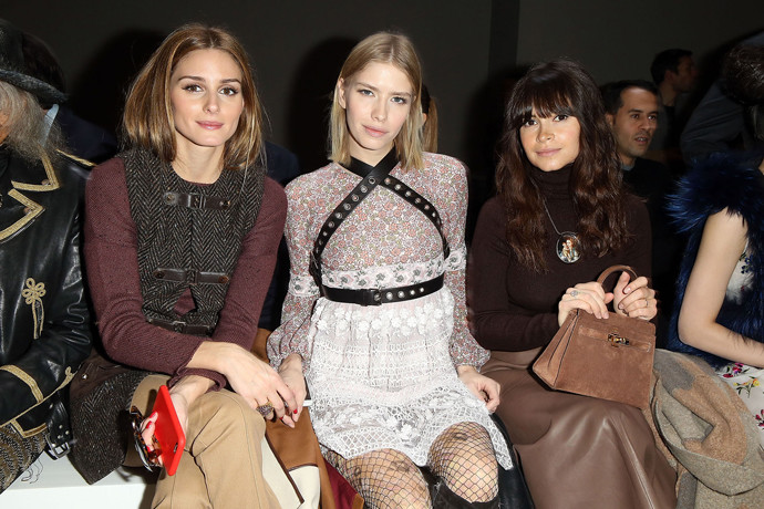 Olivia Palermo; Elena Perminova and Miroslava Duma Attend the Giambattista Valli show as part of the Paris Fashion Week Womenswear FallWinter 20152016 on March 9, 2015