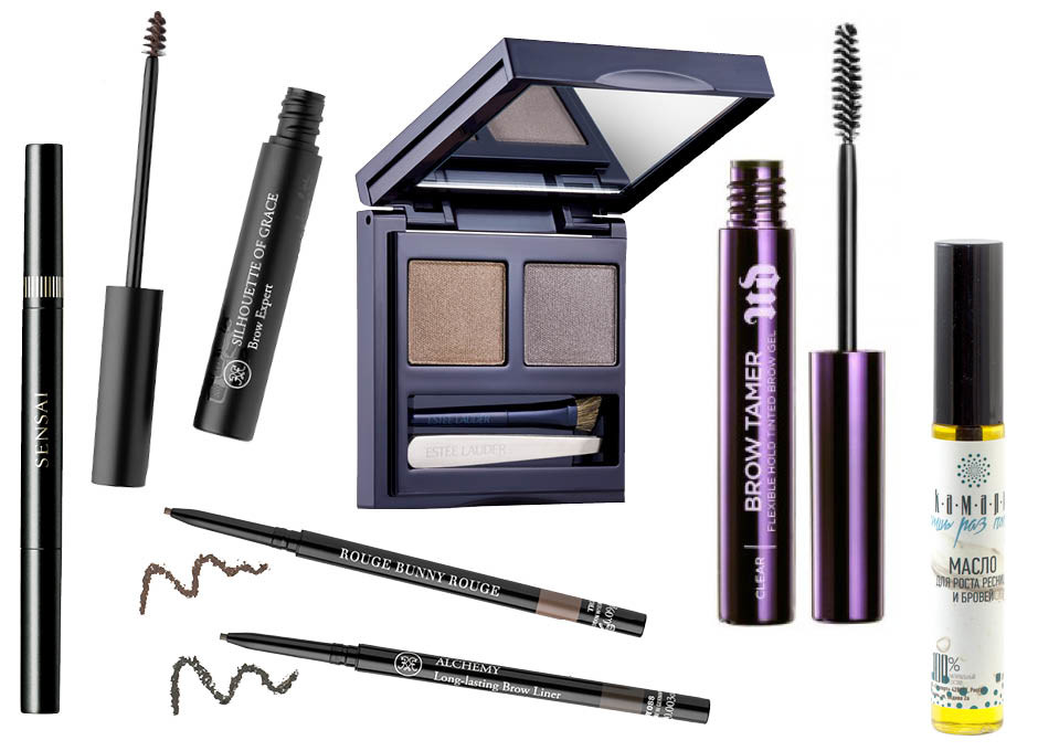 1. Sensai Eyebrow Pencil; 2. Rouge Bunny Rouge Silhouette of Grace; 3. Estée Lauder Brow Now All-in-One Brow Kit; 4. Urban Decay Brow Tamer Flexible Hold Brow Gel; 5. Камали Масло для роста ресниц; 6. Rouge Bunny Rouge. Long-Lasting Brow Liner Alchemy