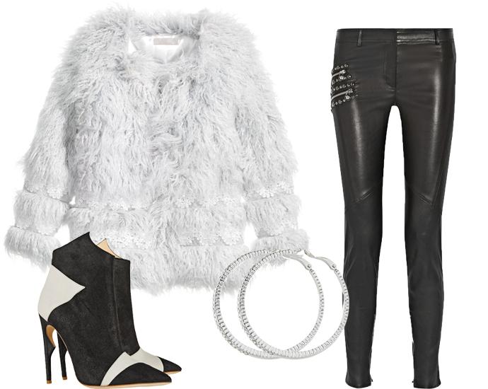 Шуба H&M, кожаные леггинсы Versace, ботильоны Jerome C. Rousseau, серьги Aldo