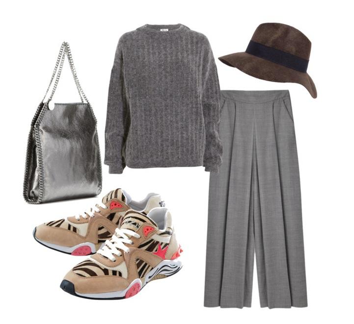 Выбор ELLE: свитер Acne Studios, брюки Alexander Wang, сумка Stella McCartney, фетровая шляпа Zara