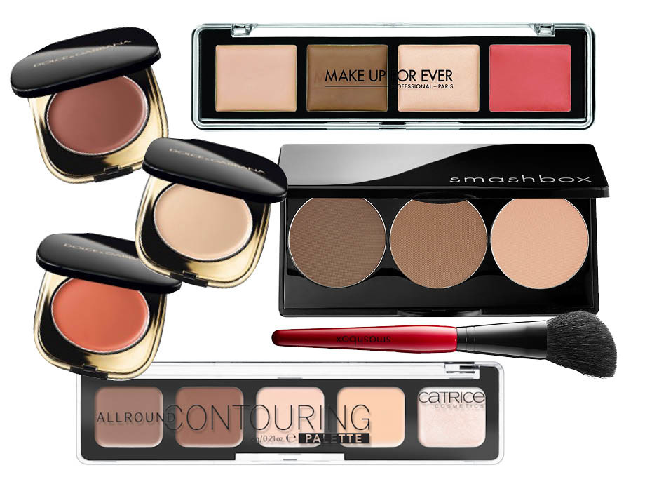 1. Dolce & Gabbana Blush of Roses Creamy Face Colour Collection; 2. Make Up For Ever Pro Sculpting Palette; 3. Smashbox Contour Kit; 4. Catrice Allround Contouring Palette