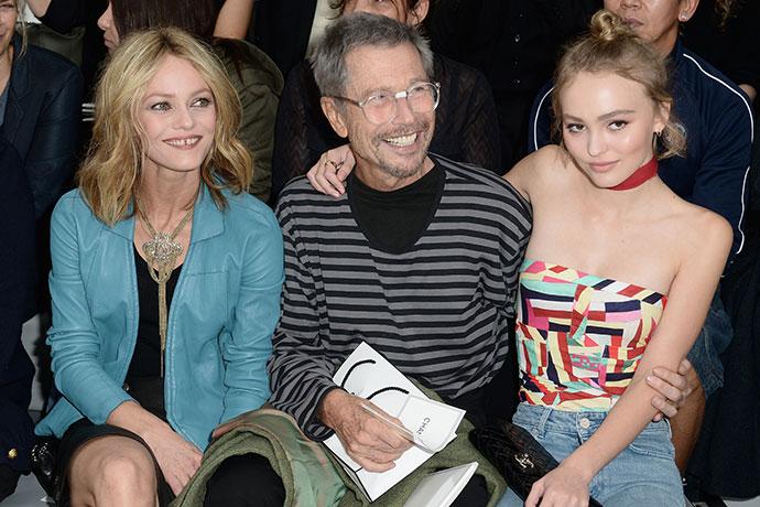 Ванесса Паради с дочерью Лили-Роуз Депп и Жан-Поль Гуд