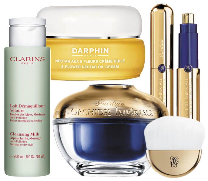 1. Cleansing Milk, Clarins; 2. 8-Flower Nectar, Darphin; 3. маска для лица и 4. интенсивный курс для восстановления - Guerlain Orchidée Impériale