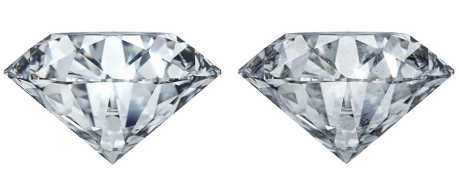 Бриллиант без дефектов; бриллиант с видимыми дефектами