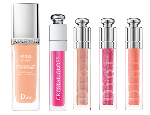 Diorskin Nude Glow - 2200 руб, блеск Dior Addict Crystal Gloss (Collector Edition) - 1350 руб., блески  Dior Addict New Look (оттенки - 216 Beige Dentelle/Lace Beige, 686 Fuschia Indécent/Outrageous Fuschia, 436 Capeline Abricot/ Apricot Cloche)