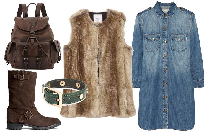 Выбор ELLE: джинсовое платье Current/Elliott, сапоги H&M, рюкзак Frye, браслет Mango