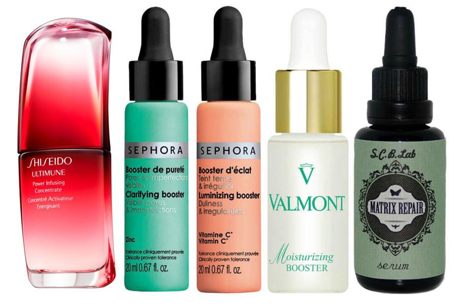 1. Shiseido Ultimune; 2. Sephora Luminizing & Claryfying Booster; 3. Valmont Moisturizing Booster; 4. Sayuri Cosmetics Matrix Repair Serum