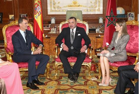 Король Фелипе VI, король Мухаммед и королева Летисия