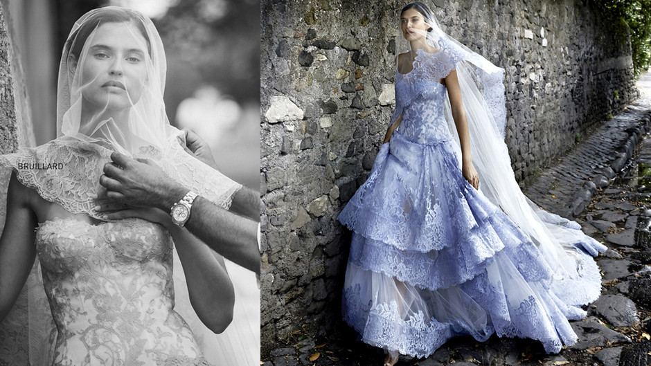Голубое свадебное платье: фото