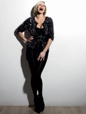 Жакет с пайетками,  Céline; корсет, Dolce & Gabbana;  колготки, Calzedonia; туфли, Louis Vuitton