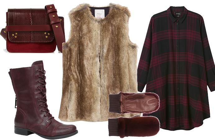 Выбор ELLE: платье-рубашка Monki, ботинки Aldo, меховые варежки Braschi, сумка через плечо Jerome Dreyfuss